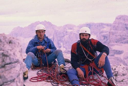 Nemec i Hainz na vrhu Cime grande, 1987.