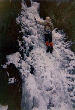 Zaleđeni slap Cerinski vir, Samoborsko gorje, 1993.